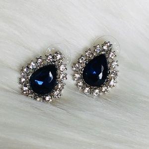Blue Tear drop Rhinestone Decorated Silver